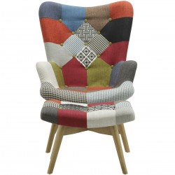 Multi-colour patchwork chair and stool Front View