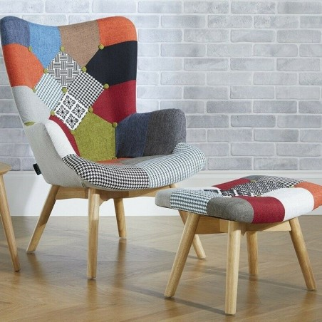 Multi-colour patchwork chair and stool Mood Shot