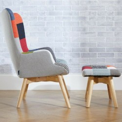 Multi-colour patchwork chair and stool Side View