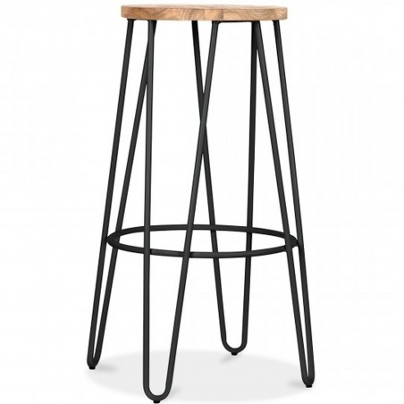 Jessie Colour Metal Bar Stool 76 - Black/ Nat