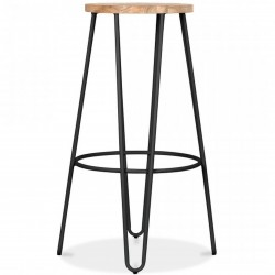 Jessie Colour Metal Bar Stool 76 - Black/ Nat Front View