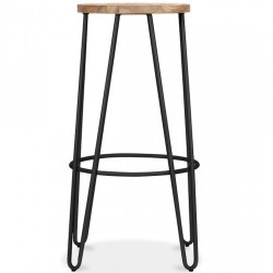 Jessie Colour Metal Bar Stool 76 - Black/ Nat Side View