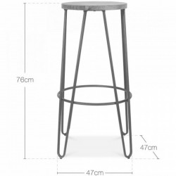 Jessie Colour Metal Bar Stool 76 - Dimensions