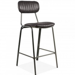 Thornton Black Metal Bar Stool - Grey