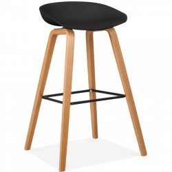 Barcelona Wooden Bar Stool 75 Black/ Nat