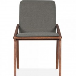 Viborg Wooden Upholstered Dining Chair Cool Grey Front View