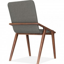 Viborg Wooden Upholstered Dining Chair Cool Grey Angled Rear View