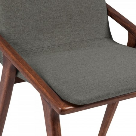 Viborg Wooden Upholstered Dining Chair Cool Grey Seat Detail