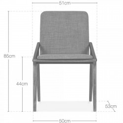 Viborg Wooden Upholstered Dining Chair - Dimensions