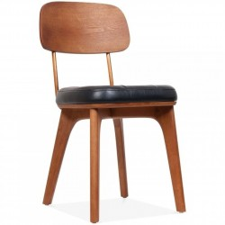 wooden dining chair in walnut/black faux leather