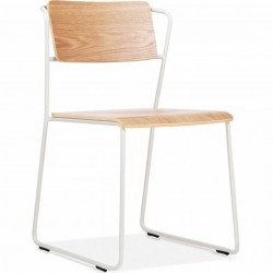 Wick Metal Side Chair Natural/White
