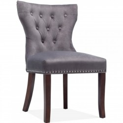 Epsom Button Velvet Upholstered Dining Chair -  Charcoal Grey