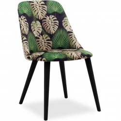 Trofor Velvet Upholstered Dining Chair Botanical/ Blackleg