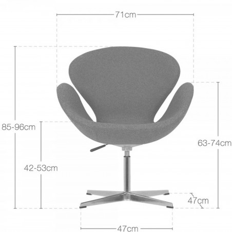 Swan Lounge Chair - Dimensions