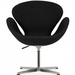 Swan Lounge Chair - Black/ Aluminium Front View