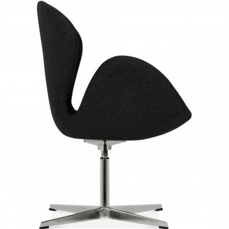 Swan Lounge Chair - Black/ Aluminium Side View