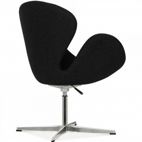 Swan Lounge Chair - Black/ Aluminium Angled Rear View
