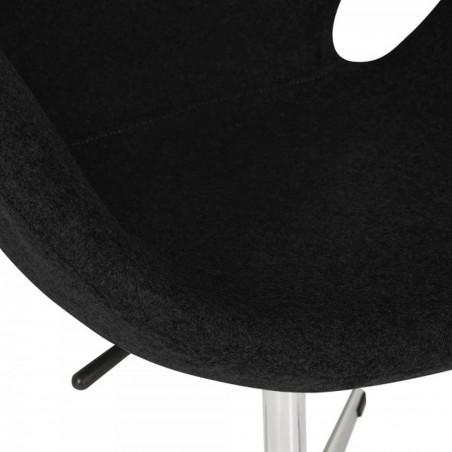 Swan Lounge Chair - Black/ Aluminium Seat Detail