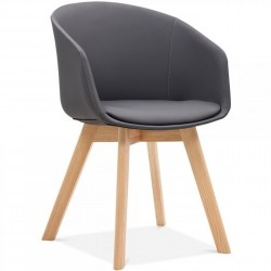 Copenhagen Faux Leather Wooden Armchair - Dark Grey