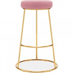 Paltz Velvet Upholstered Bar Stool - 75 cm Pink