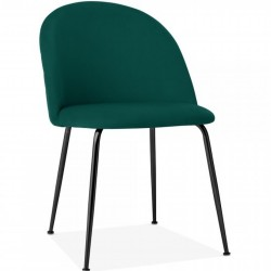 Velvet Upholstered Dining Chair - Teal Black Legs