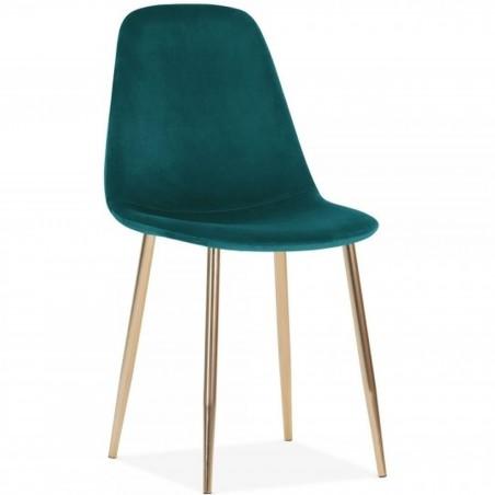 Cramer Velvet Upholstered Dining Chair Teal Brass Legs
