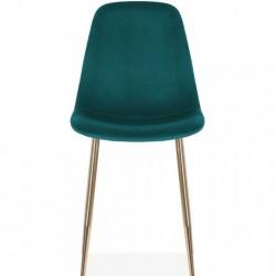 Cramer Velvet Upholstered Dining Chair Teal Brass Legs Front View