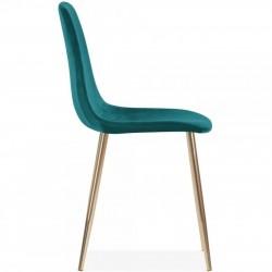 Cramer Velvet Upholstered Dining Chair Teal Brass Legs Side View