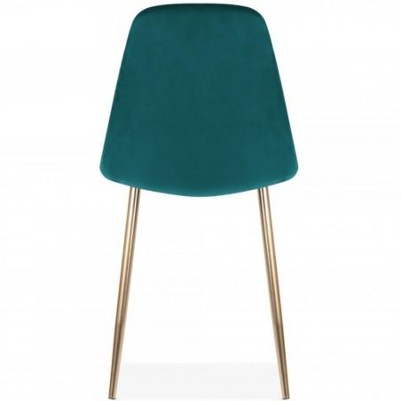 Cramer Velvet Upholstered Dining Chair Teal Brass Legs Rear View