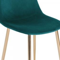 Cramer Velvet Upholstered Dining Chair Teal Brass Legs Seat Detail