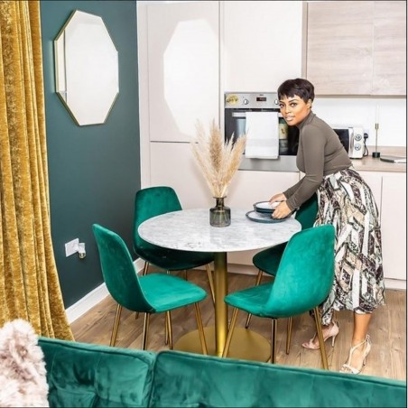 Cramer Velvet Upholstered Dining Chair Teal Mood Shot