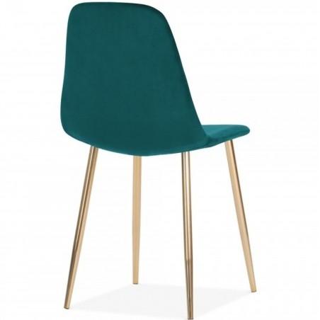 Cramer Velvet Upholstered Dining Chair Teal Brass Legs Angled Rear View