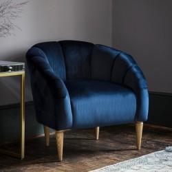 Floret Designer Velvet Armchair - Royal Blue