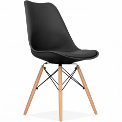 Eames DSW Style Chair - Black/ Natural Leg