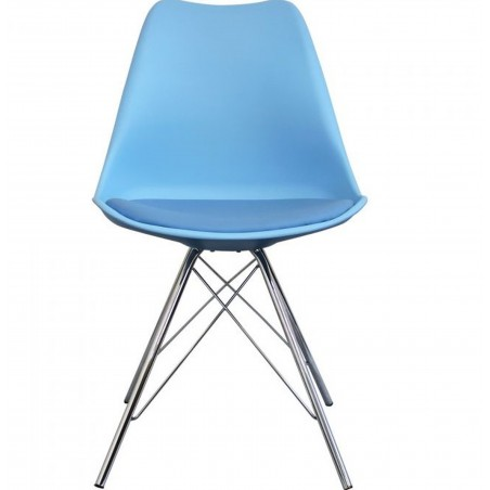 Eames Eiffel Style Dining Chair - Blue/ Chrome Legs  Front View