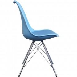 Eames Eiffel Style Dining Chair - Blue/ Chrome Legs Side View