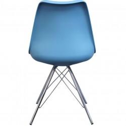 Eames Eiffel Style Dining Chair - Blue/ Chrome Legs Rear View