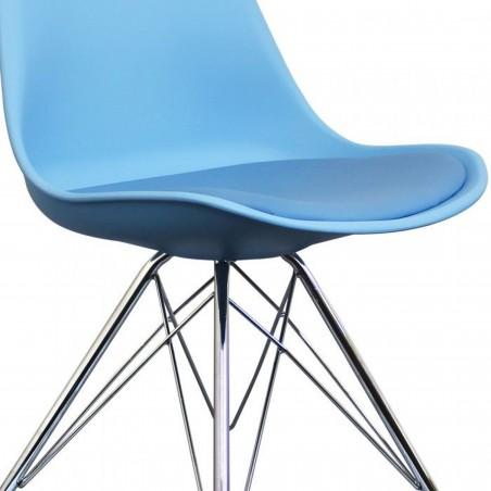 Eames Eiffel Style Dining Chair - Blue/ Chrome Legs Seat Detail