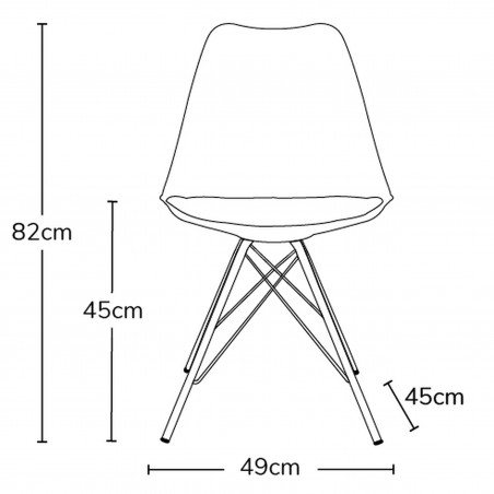 Eames Eiffel Style Dining Chair - Dimensions
