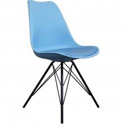 Eames Eiffel Style Dining Chair - Blue/ Black Legs