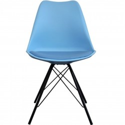 Eames Eiffel Style Dining Chair - Blue/ Black Legs Front View