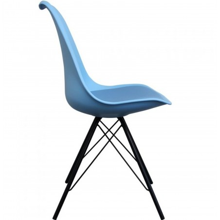 Eames Eiffel Style Dining Chair - Blue/ Black Legs Side View