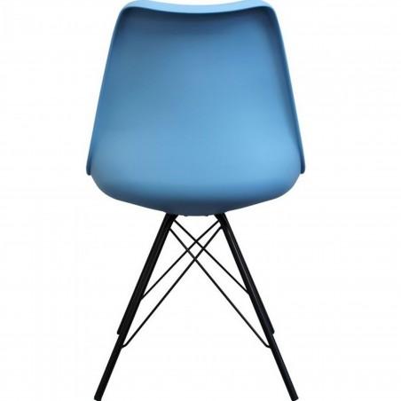 Eames Eiffel Style Dining Chair - Blue/ Black Legs Rear View