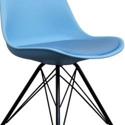 Eames Eiffel Style Dining Chair - Blue/ Black Legs Seat Detail