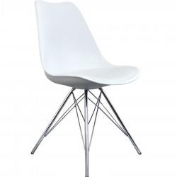 Eames Eiffel Style Dining Chair - White/ Chrome Legs