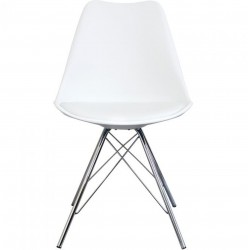 Eames Eiffel Style Dining Chair - White/ Chrome Legs Front View