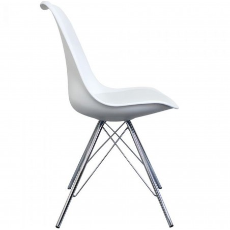 Eames Eiffel Style Dining Chair - White/ Chrome Legs Side View
