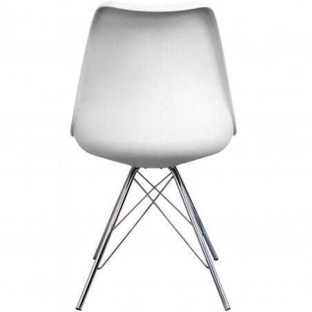 Eames Eiffel Style Dining Chair - White/ Chrome Legs Rear View