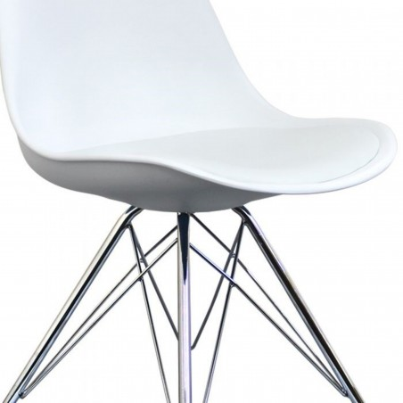 Eames Eiffel Style Dining Chair - White/ Chrome Legs Seat Detail