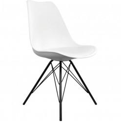 Eames Eiffel Style Dining Chair - White/ Black Legs